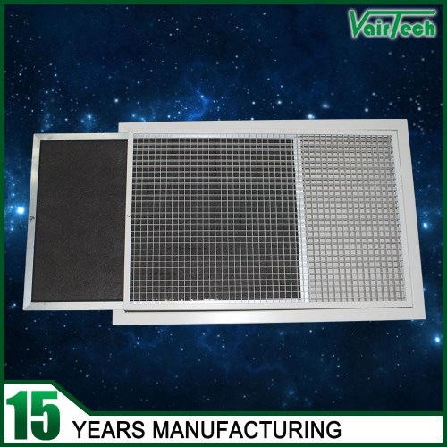 Door-hinged eggcrate grille c/w removable G3 filter, aluminun eggcrate air grille, eggcrate grille supplier